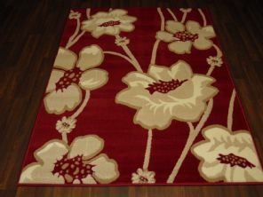 Modern Approx 6x4ft 115x165cm Woven Backed  Rugs Sale Top Quality Red/Beiges New